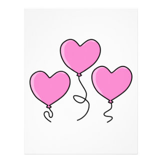 """Pink Heart Balloon with Black Outline. 8.5"""" X 11"""" Flyer"""