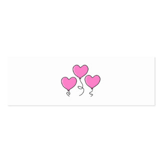 Pink Heart Balloon with Black Outline. Mini Business Card