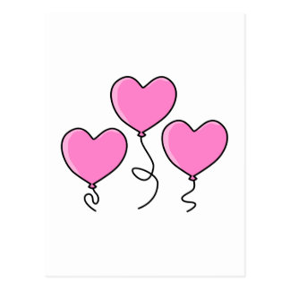 Pink Heart Balloon with Black Outline. Postcard