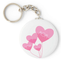 pink heart balloons i love you mom keychain