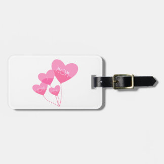 pink heart balloons i love you mom luggage tag