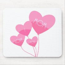 pink heart balloons i love you mom mouse pad
