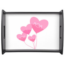 pink heart balloons i love you mom serving tray