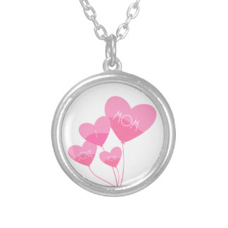 pink heart balloons i love you mom silver plated necklace