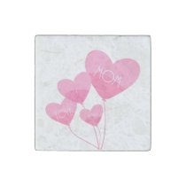 pink heart balloons i love you mom stone magnet