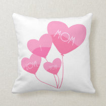 pink heart balloons i love you mom throw pillow