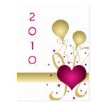 Pink Heart & Balloons New Year Custom Postcard
