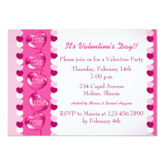 "Pink heart balloons valentine party invitation 5"" x 7"" invitation card"