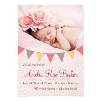 Pink Heart & Banner - New Baby Birth Announcement