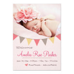 """Pink Heart & Banner - New Baby Birth Announcement 5"""" X 7"""" Invitation Card"""