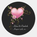 Pink Heart Black Wedding Favor Label Stickers
