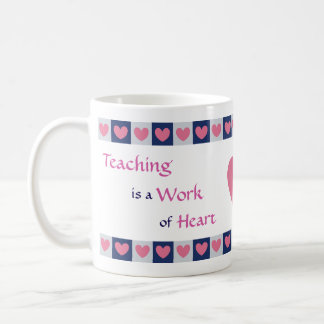 Pink Heart Border Teacher Coffee Mug