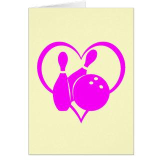 Pink heart bowling card