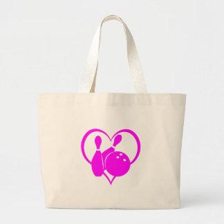 Pink heart bowling large tote bag