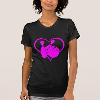 Pink heart bowling t shirt