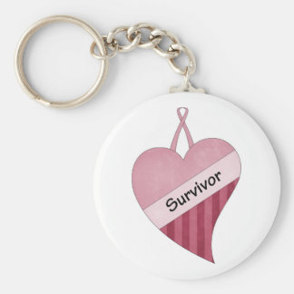 Pink heart breast cancer survivor keychain
