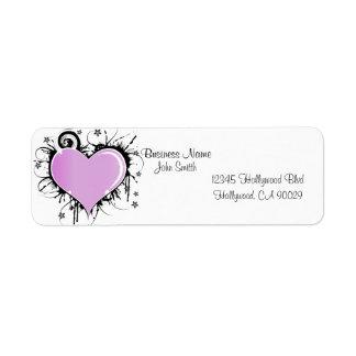 Pink Heart Business Address Label