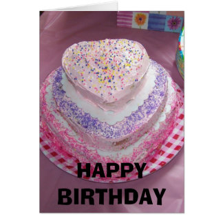 Pink Heart Cake,  HAPPY BIRTHDAY Card
