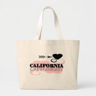 Pink Heart California Tote Bag