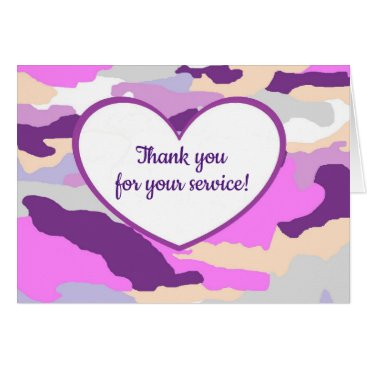 Pink Heart Camouflage Service Greeting Card