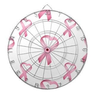 Pink Heart Cancer Ribbon 2 Dartboard With Darts