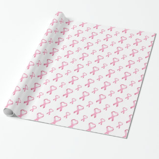 Pink Heart Cancer Ribbon 2 Wrapping Paper