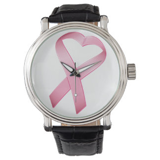 Pink Heart Cancer Ribbon Wristwatch