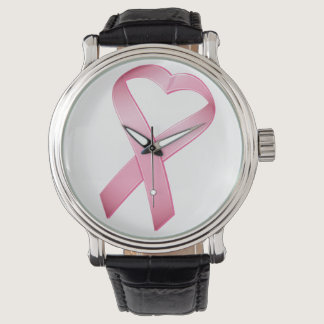 Pink Heart Cancer Ribbon Wristwatch