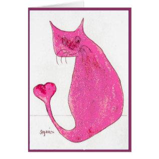 Pink Heart Cat Valentine Card at Zazzle