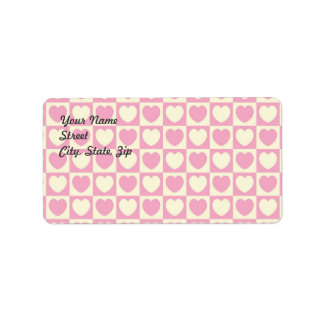Pink Heart Checkered Address Sticker