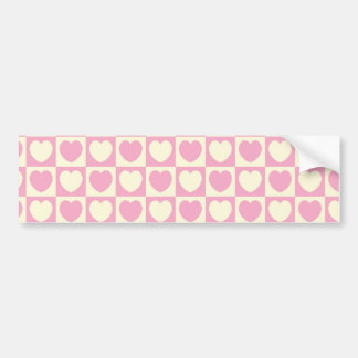Pink Heart Checkered Background Bumper Sticker