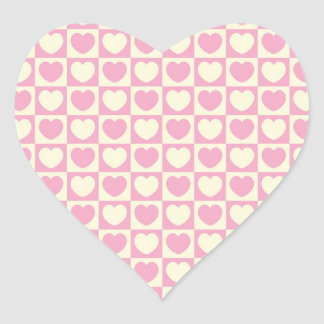 Pink Heart Checkered Heart Sticker