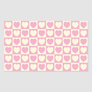Pink Heart Checkered Rectangle Sticker