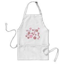 Pink Heart Chevron Flower Mom Adult Apron