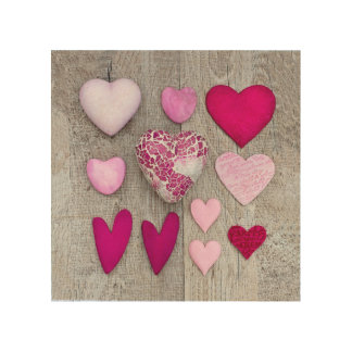 Pink Heart Collection Wood Wall Decor