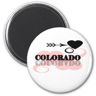 Pink Heart Colorado 2 Inch Round Magnet