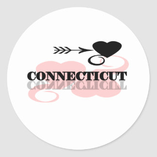 Pink Heart Connecticut Classic Round Sticker
