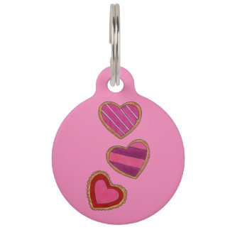 Pink Heart Cookie Valentine's Day Hearts Dog Tag