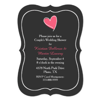 Pink Heart Couple's Wedding Shower Invitation