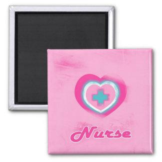 Pink Heart & Cross- Nurse 2 Inch Square Magnet