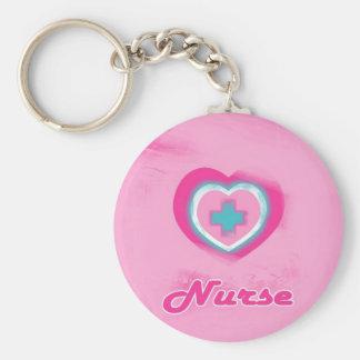 Pink Heart & Cross- Nurse Basic Round Button Keychain