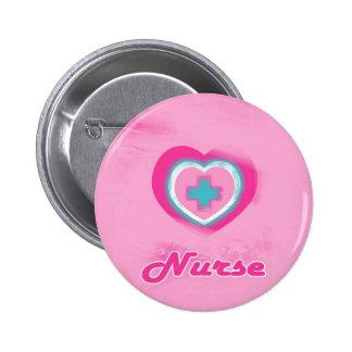 Pink Heart & Cross- Nurse Pinback Button