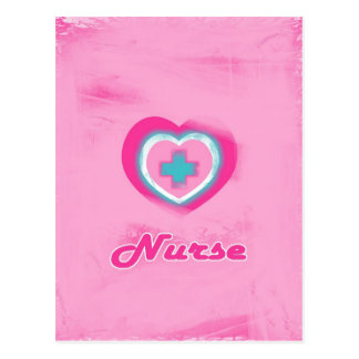 Pink Heart & Cross- Nurse Postcard