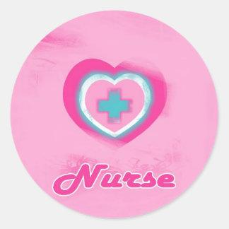 Pink Heart Cross- Nurse Sticker