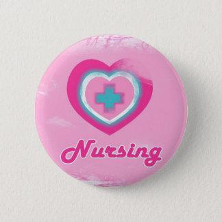 Pink Heart & Cross- Nursing Button