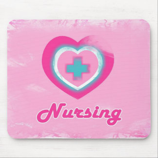 Pink Heart & Cross- Nursing Mousepad