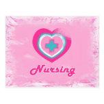 Pink Heart & Cross- Nursing Postcard