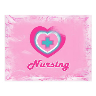 Pink Heart & Cross- Nursing Postcard