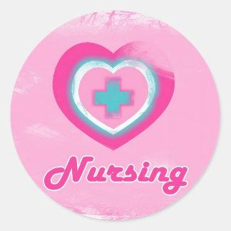 Pink Heart Cross- Nursing Round Sticker