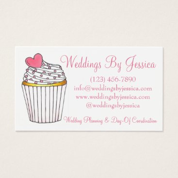 Professional Business Pink Heart Cupcake Cake Wedding Planner Bakery Business Card